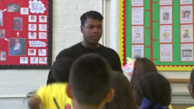 children learn to 'train like a jedi' with star wars actor john boyega uk london camberwell john boyega and jade jones at launch of 'train like a... - actor stock videos & royalty-free footage
