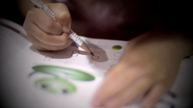 children learn to write. - preschool child stock videos & royalty-free footage