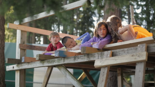LA Children lying in a tree fort telling secrets / Vancouver, British Columbia, Canada