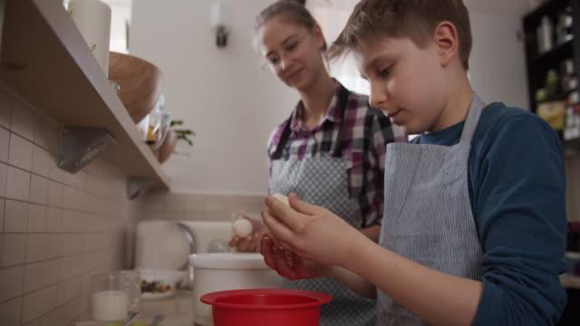 children making yeast cake - egg yolk stock videos & royalty-free footage