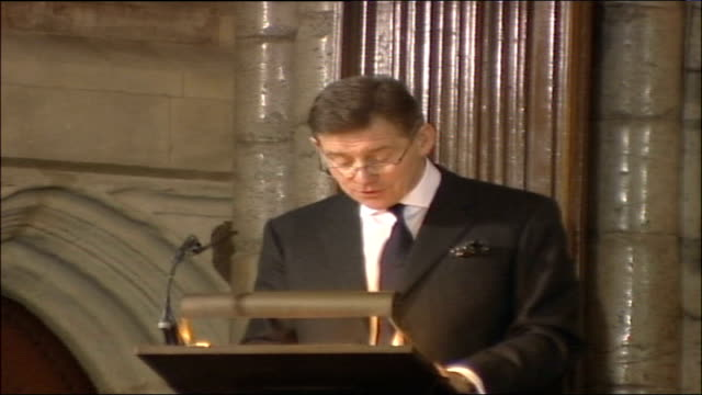 Duchess of Cornwall presents awards at Westminster Abbey ceremony ENGLAND London Westminster Westminster Abbey INT Anthony Andrews speaking from...