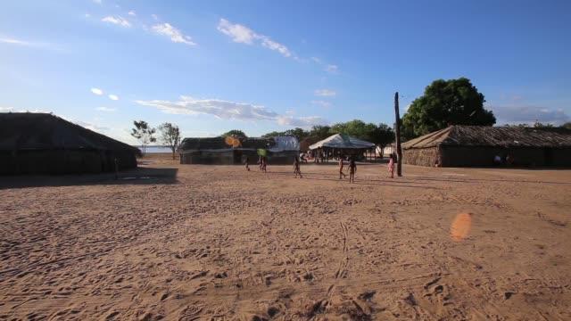 PAN children of the Kamayura tribe play football shot on June 14th 2014