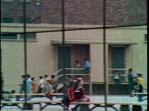 1970 montage children on school playground and school bus driving on road, los angeles, california, usa, audio - 1970 stock videos & royalty-free footage