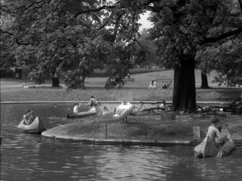 vídeos de stock, filmes e b-roll de children paddle in canoes on a boating lake in regents park. 1955. - organismo aquático