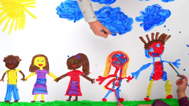 time-lapse children painting a multi-ethnic group of children holding hands - holding stock videos & royalty-free footage