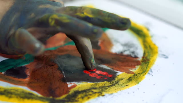 children painting with finger - finger painting stock videos and b-roll footage