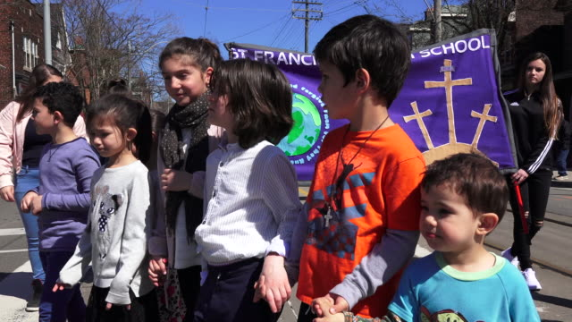 children partaking in the christian procession during holy week in toronto - holy week stock videos & royalty-free footage