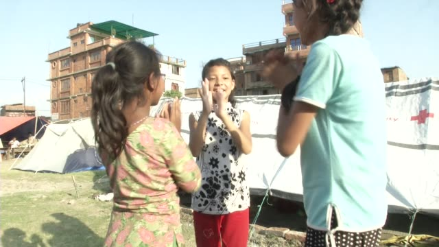Children play at an IDP camp in Bhaktapur / A major earthquake hit Kathmandu midday on Saturday April 25th and was followed by multiple aftershocks...