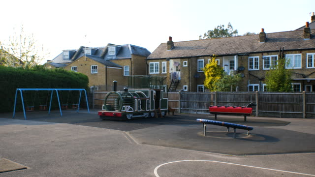 children playground closed in mortlake, richmond during lockdown for coronavirus pandemic in london, england, uk, on thursday, april 9, 2020. - playground stock videos & royalty-free footage