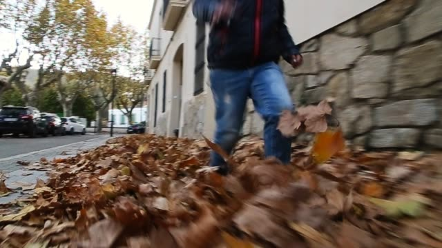 children playing and running over the autumn leafs in slow motion. - kicking stock videos & royalty-free footage