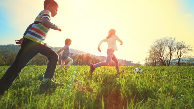 slo mo ts children playing football in a sunny meadow - childhood stock videos & royalty-free footage