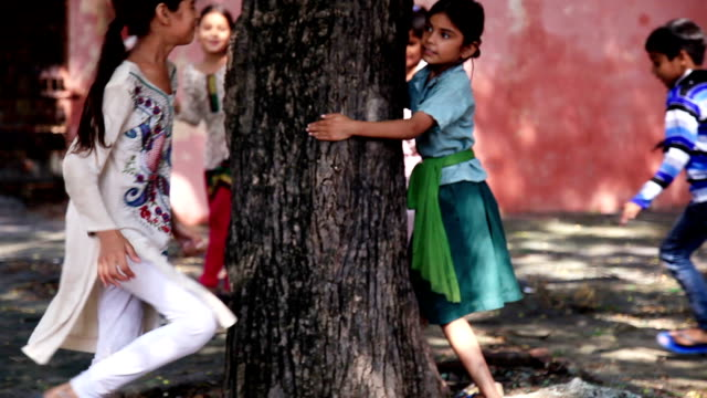 children playing hide & seek - india video stock e b–roll