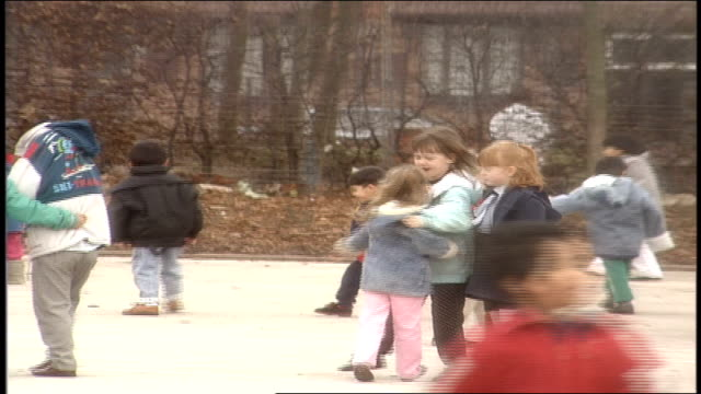 children playing in birmingham, uk schoolyard - 1990 stock videos & royalty-free footage