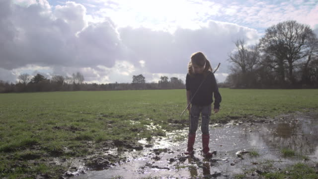 Children playing in muddy puddles