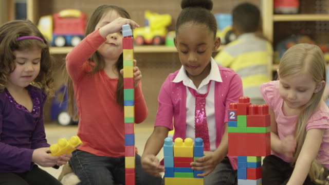 children playing in preschool - preschool child stock videos & royalty-free footage