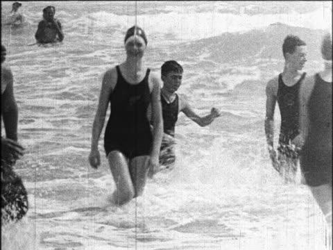 B/W 1924 children playing in surf / Miami Beach, Florida / industrial