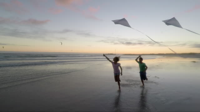 children playing on a beach at sunset - kid with kite stock videos & royalty-free footage
