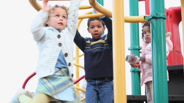 ms la pan children playing on monkey bars on playground / richmond, virginia, usa - ジャングルジム点の映像素材/bロール