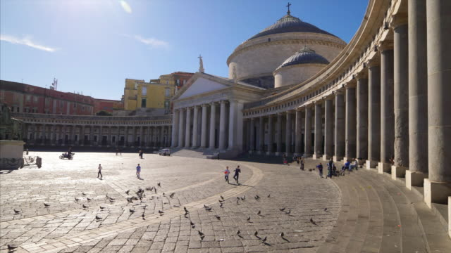 children playing soccer in piazza del plebiscito in naples, italy - church stock videos & royalty-free footage
