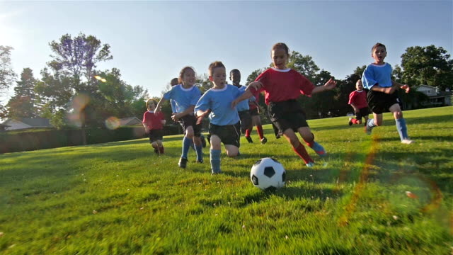 children playing soccer - football strip stock videos & royalty-free footage