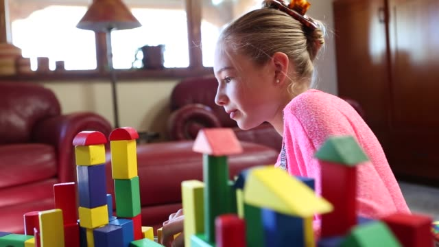 children playing with blocks - pre adolescent child stock videos and b-roll footage