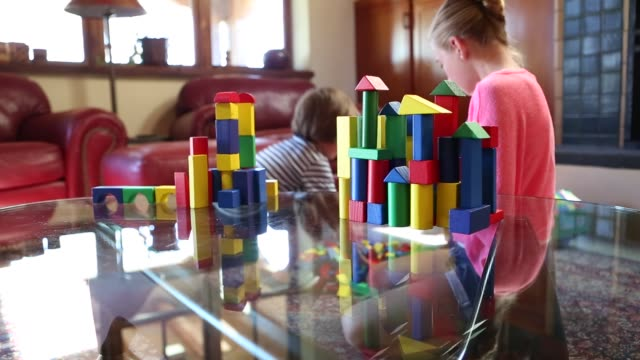 children playing with blocks - balance stock videos & royalty-free footage