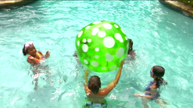 ha ws children playing with large beach ball in pool / sherman, ct, usa - catching stock videos and b-roll footage