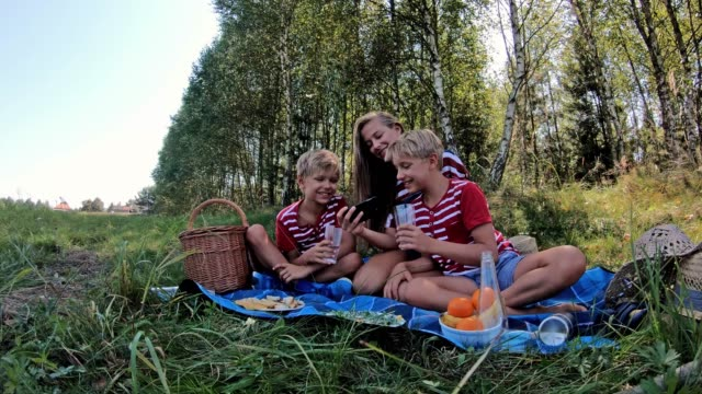 children playing with smartphone at picnic in forest - dolly shot stock videos & royalty-free footage