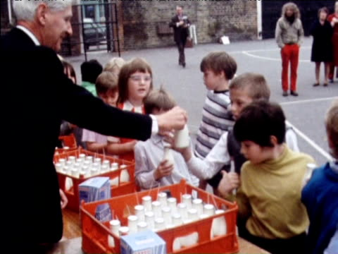 children queue to collect free school milk london; 1971 - primary school child stock videos & royalty-free footage