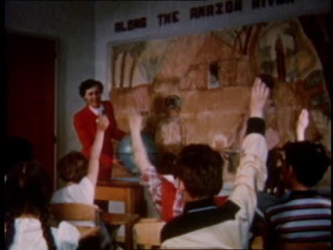 1951 ms children raising hands in school classroom / detroit, michigan, united states - 1950 stock videos & royalty-free footage