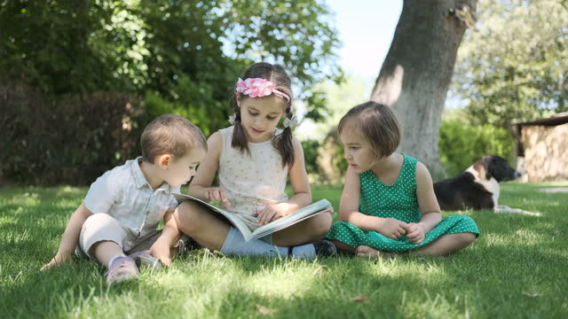 children reading book outdoors in nature in summer season - small group of people stock videos & royalty-free footage