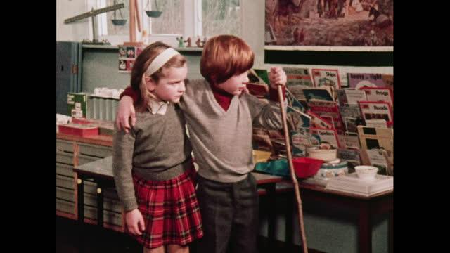 children rehearse a nativity play, 1970s - weihnachtskrippe stock-videos und b-roll-filmmaterial