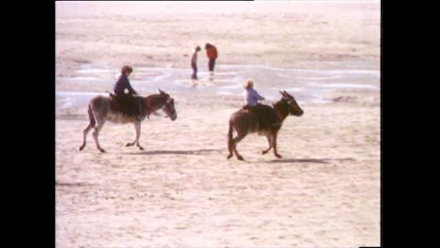 children ride donkeys on blackpool beach; 1978 - 1978 stock videos & royalty-free footage