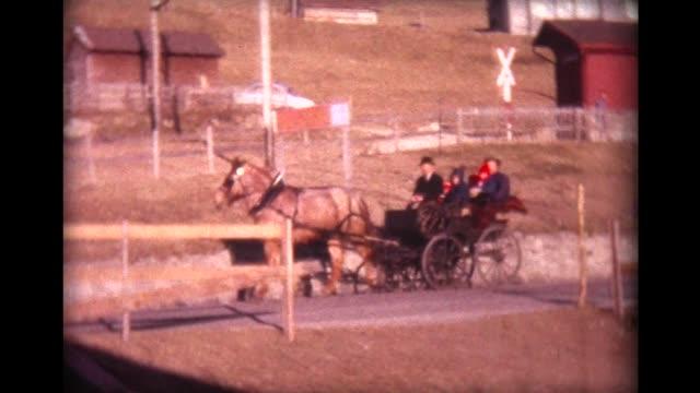 vídeos de stock e filmes b-roll de 1963 children ride in horse-drawn open carriage along winding swiss road - família com quatro filhos