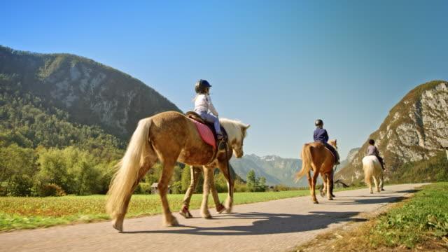 日当たりの良い自然の中の馬に乗って ts 子供 - 乗馬点の映像素材/bロール