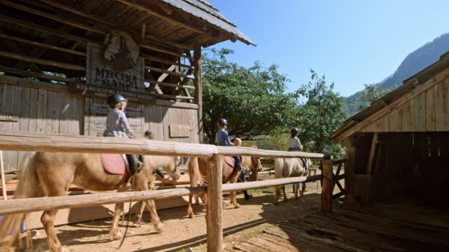 vídeos de stock, filmes e b-roll de filhos, montar seus cavalos colocados da caneta com a ajuda de guias de adultos - animal
