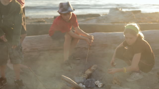 HA Children roasting marshmallows around a beach campfire / Vancouver, British Columbia, Canada