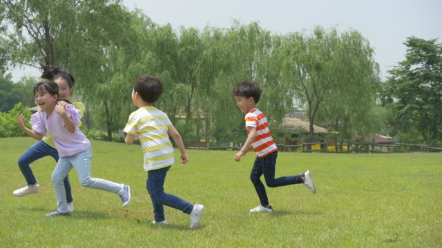 children running and playing on the lawn - grass family stock videos & royalty-free footage