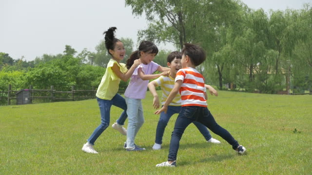 vídeos de stock, filmes e b-roll de children running and playing on the lawn - brincadeira de pegar