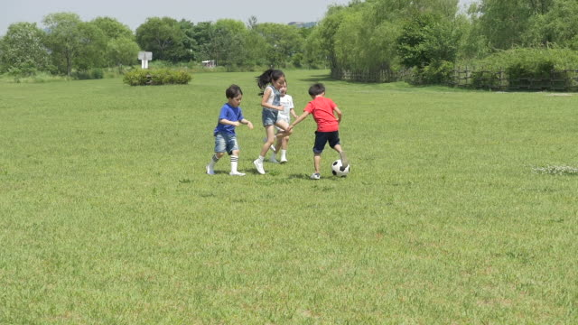 children running and playing scoccer on the lawn - kicking stock videos & royalty-free footage