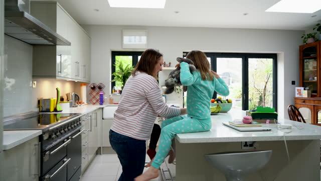 children running down staircase into kitchen - kitchen stock videos & royalty-free footage