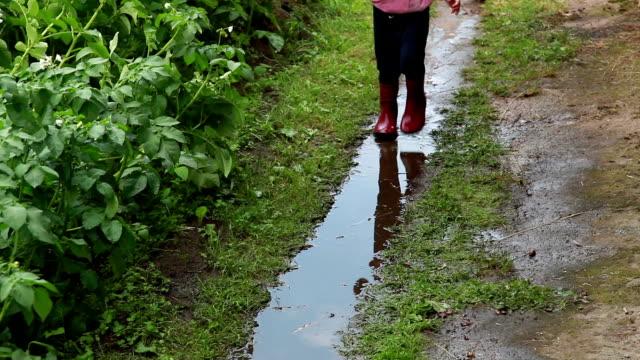 barn som springer i pöl på bakgården - 4 5 år bildbanksvideor och videomaterial från bakom kulisserna