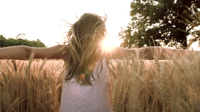 hd super slow-motion: children running in wheat - arms outstretched stock videos and b-roll footage