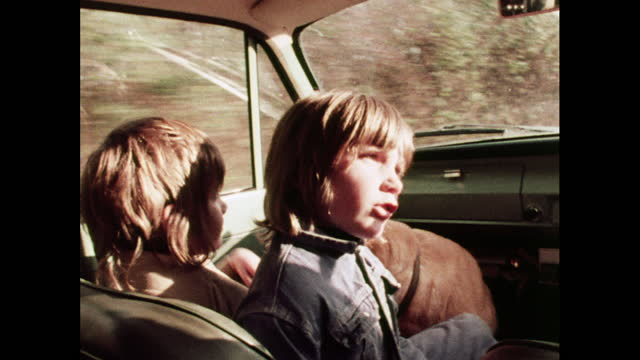 children sit in front seat of car, 1970s - passenger seat stock videos & royalty-free footage