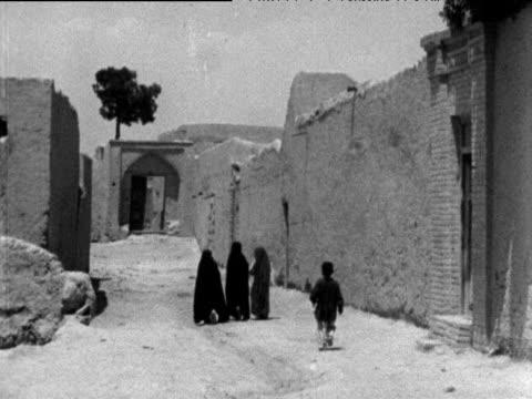 children walk along dusty narrow road tehran 1963 - teheran stock-videos und b-roll-filmmaterial