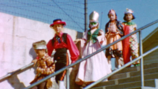 Children walk down stairs at Emerson Elementary school in Burbank / Halloween festival on campus / Pony rides / School Halloween Party on October 31...