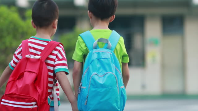 children walk to school - primary school child stock videos & royalty-free footage
