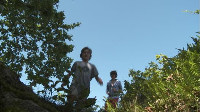 stockvideo's en b-roll-footage met ms la children (12-13, 14-15) walking on footpath on meadow, bouillon, belgium - 12 13 jaar