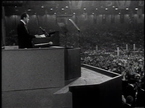 children watching a television / richard nixon at the republican convention / a crowd listening to a speech / nixon's hands waving on the podium - präsident stock-videos und b-roll-filmmaterial