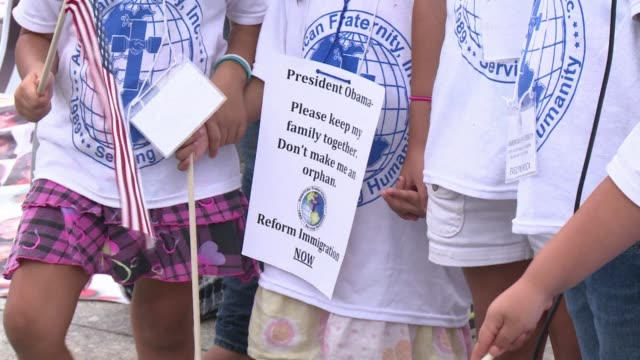 Children whose parents have been deported or are currently in deportation proceedings protested outside the White House on Monday to urge President...